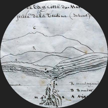 Croquis extrait des carnets de l'abbé Pouech conservés au Collège Jean XXIII de Pamiers ((c) François Bon)
