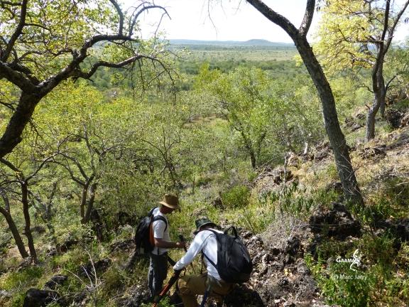 Namibie, Aha Hills, prospection dans la colline du Léopard (c) M. Jarry