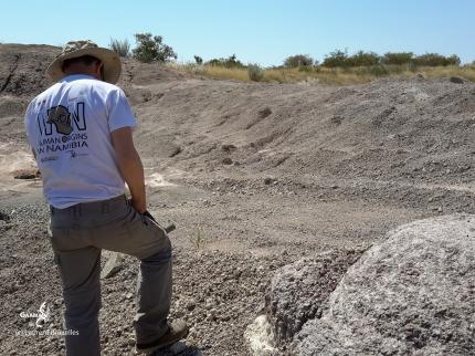 Namibie, prospection dans les carrières le long de la piste (c) M. Jarry