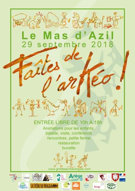 """Affiche de la manisfestation """"Faites de l'arKéo"""" au Mas d'Azil G&A 2018"""